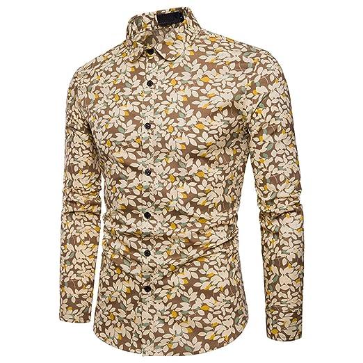 87c8ddb4 WULFUL Men's Lemon Floral Print Hawaiian Tropical Shirt Long Sleeve Party  Dress Shirts