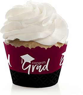 product image for Maroon Grad - Best is Yet to Come - Burgundy Graduation Party Decorations - Party Cupcake Wrappers - Set of 12