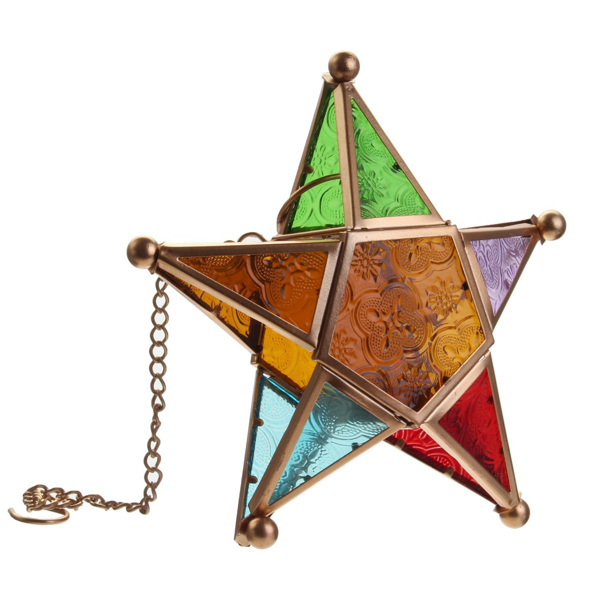 KING DO WAY Hanging Star Lantern Outdoor Pendant Candle Holder Lamp Moroccan Style Glass Tealight Lantern Candle Tray