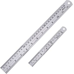 Stainless Steel Ruler and Metal Rule Kit with Conversion Table (Silver, 12 Inch, 6 Inch)