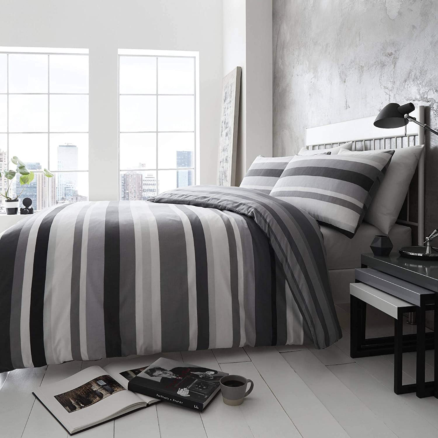 Happy Linen Company Simply Stripes Black Charcoal Grey White Single Reversible Duvet Cover Bedding Set Amazon Co Uk Kitchen Home