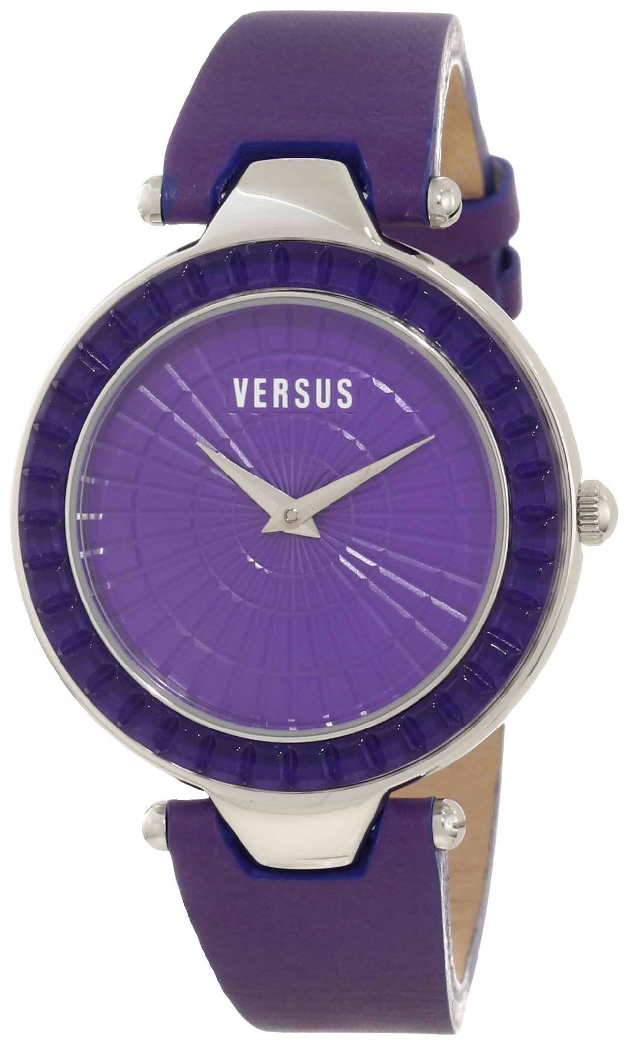 Versus by Versace Women's 3C72100000 Sertie Purple Dial Textured Glass Bezel Genuine Leather Watch