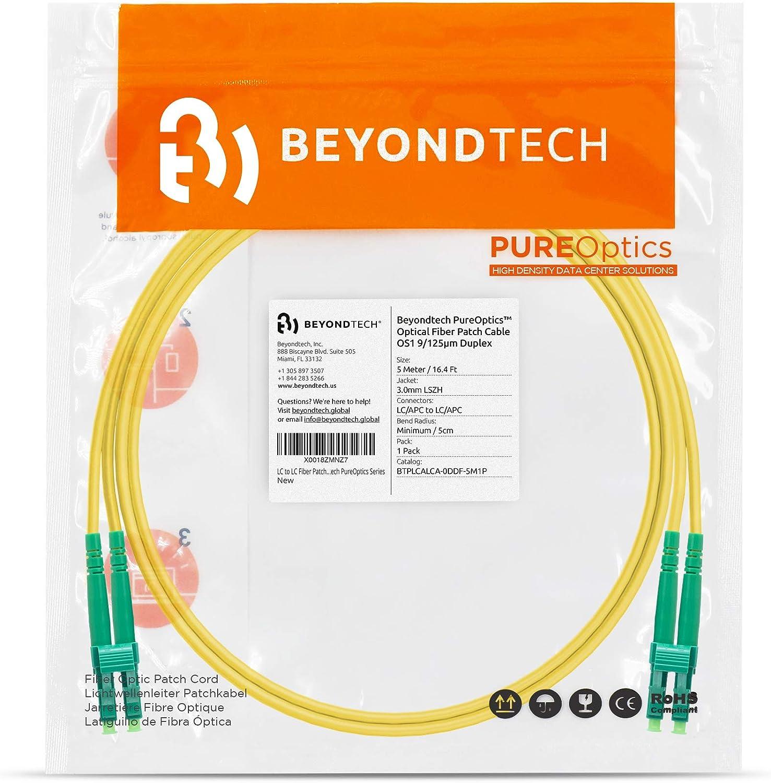 - 9//125 OS1 6ft Beyondtech PureOptics Series LC//APC to LC//APC Fiber Patch Cable Singlemode APC Duplex 2m