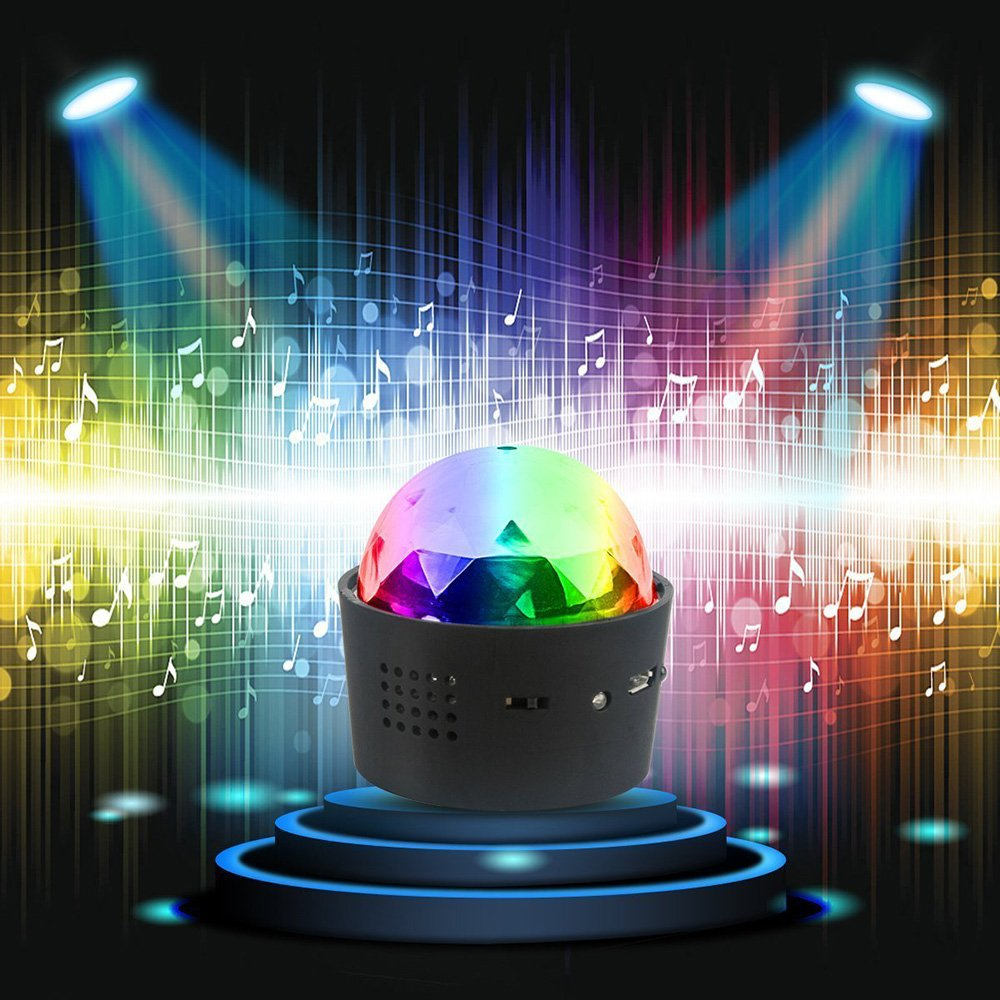 DeeFec Wireless Mini Disco Ball Light Multi-Coloured Crystal Sound Activation Portable LED Party Effect DJ Stage Light with USB, RGB Car Decoration Light, Party Atmosphere Light