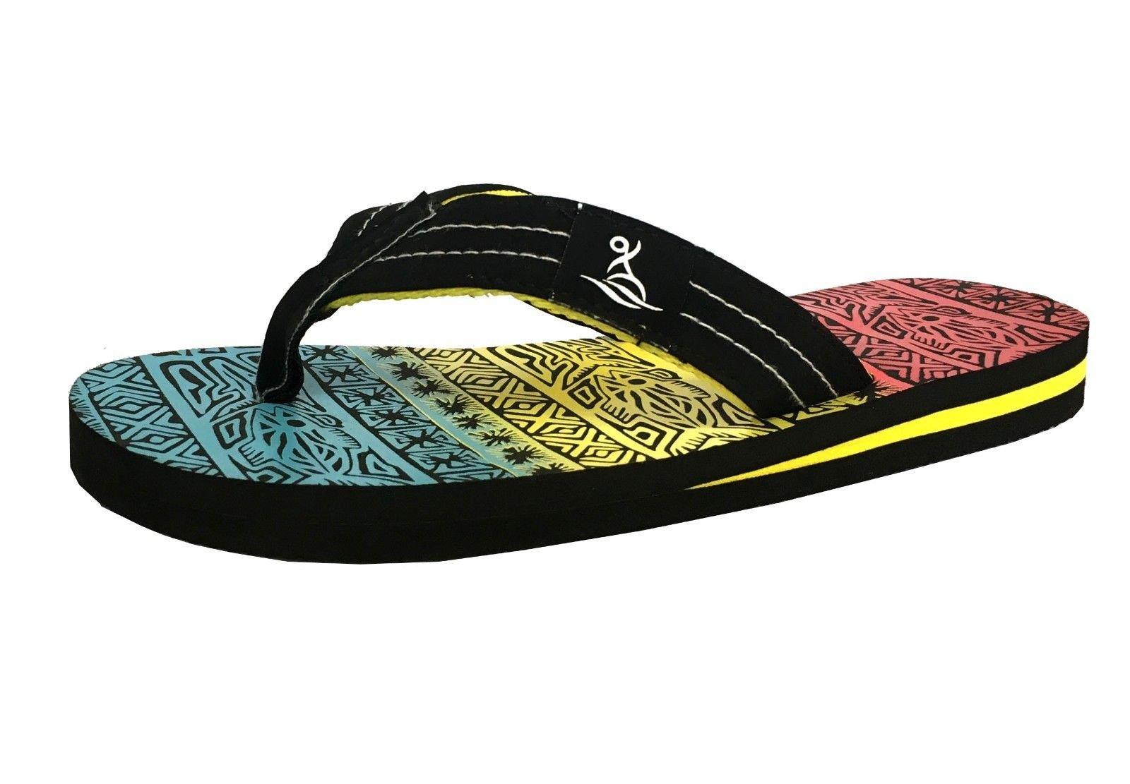 New Boys' Beach Sandal Tribal Tattoo | Geometric Bali Flip-Flop Sandals (1, 628K Black)