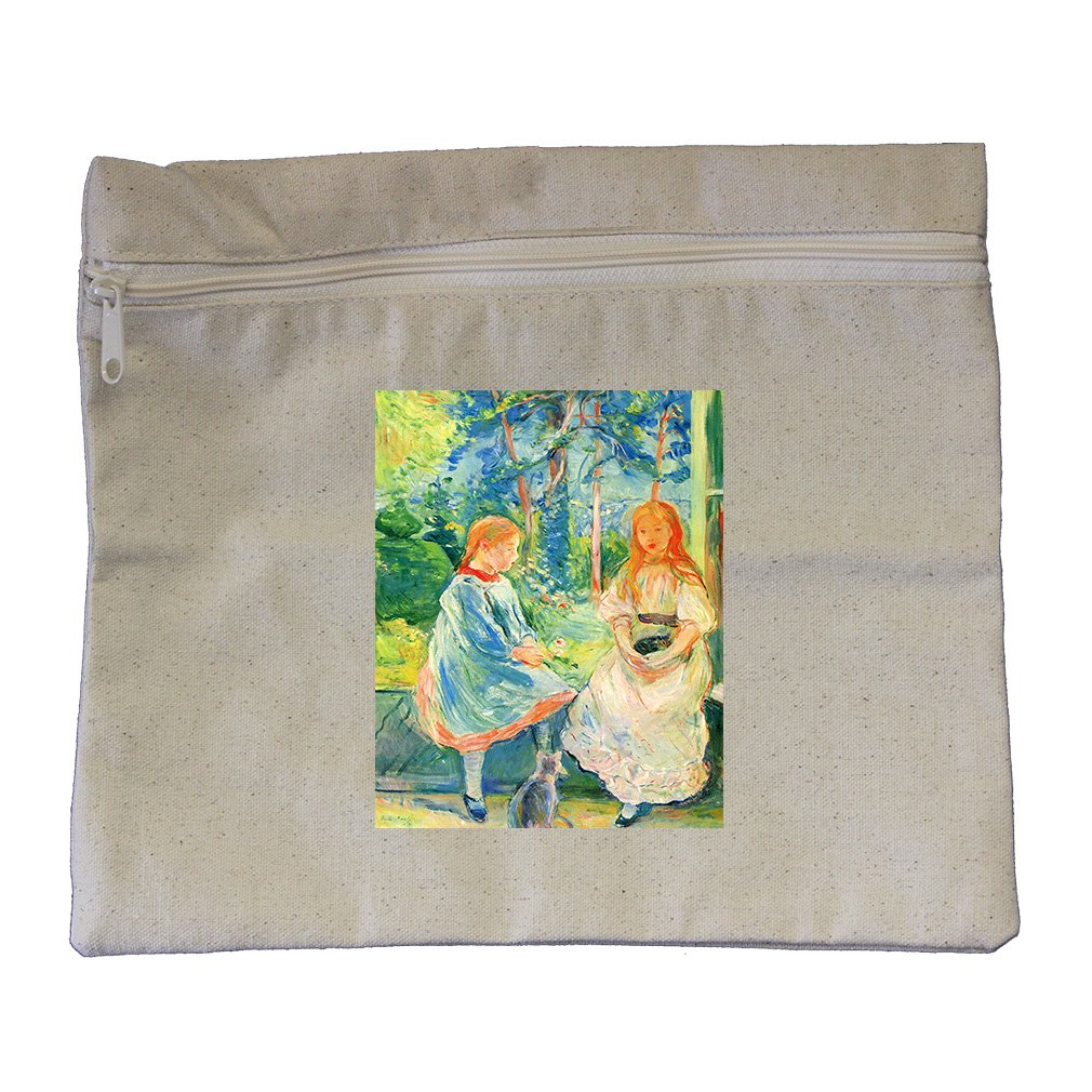 Two Girls By The Window (Morisot) Canvas Zippered Pouch Makeup Bag