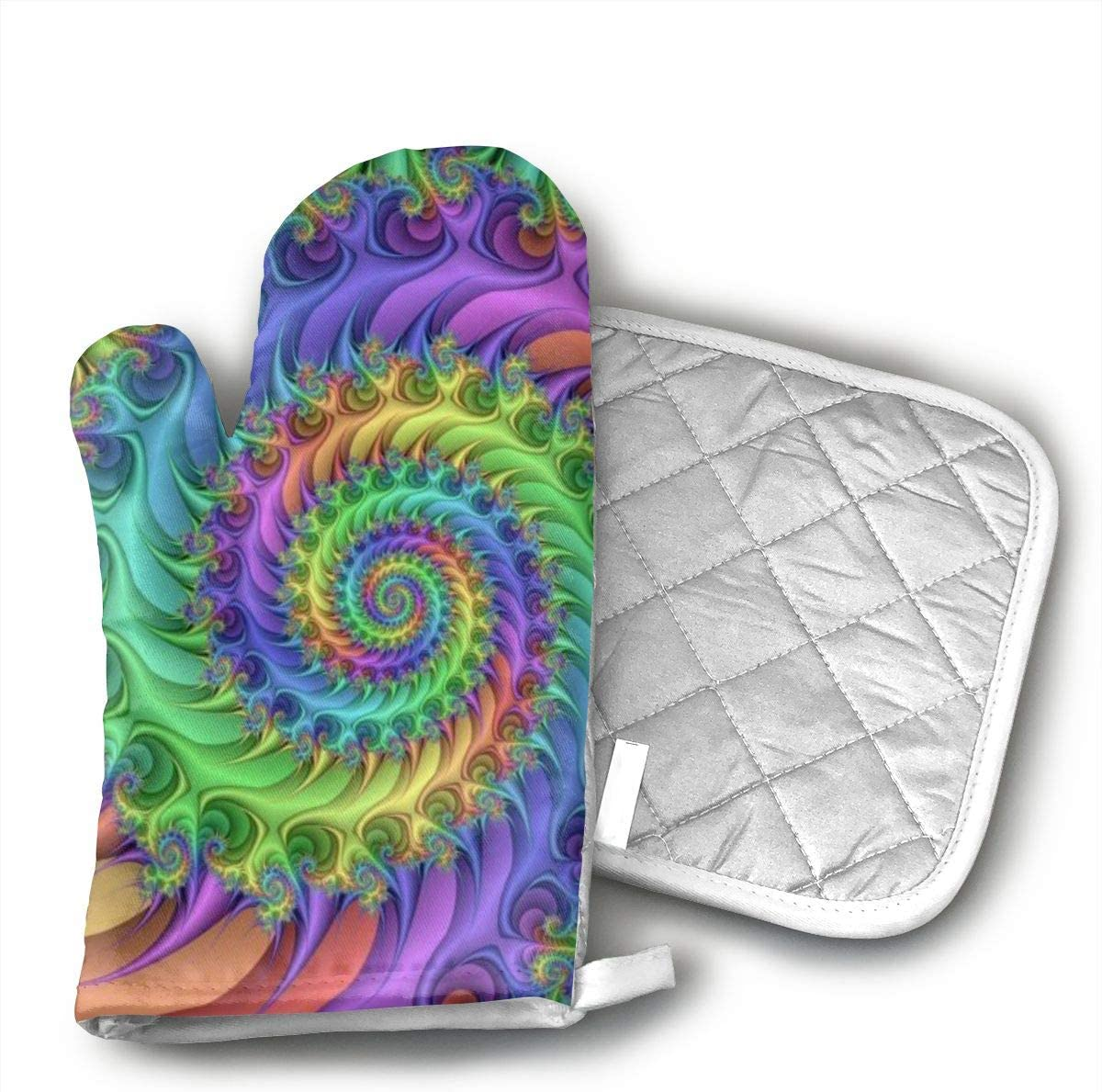 Wiqo9 Colorful Art Style Tie Dye Oven Mitts and Pot Holders Kitchen Mitten Cooking Gloves,Cooking, Baking, BBQ.