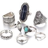 LUFA L'anello combinato 8pcs / set ha regolato le retro anelli per l'insieme dell'anello giunto della vite prigioniera della pietra preziosa delle donne degli uomini