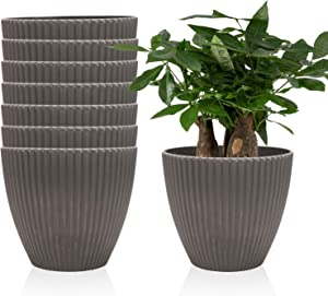 6 Inches Plastic Vertical Stripes Planters, Household Plant Pots, Gardening Continers, Planters, Perfect for Indoor and Outdoor Decoration/ Garden/ aKitchen/ Flower/ Succulents, Set of 8 (Dark Grey)