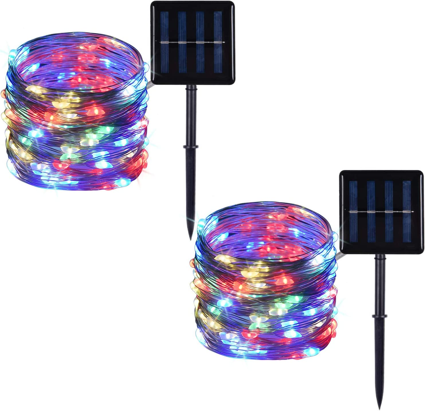 2 Pack 100 LED Solar Powered Copper Wire String Lights Outdoor, Waterproof, 8 Modes Fairy Lights for Garden, Patio, Party, Yard, Christmas (Multicolor)