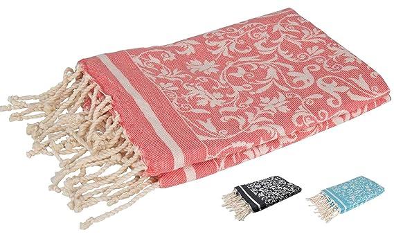 Fouta Toalla Turca XXL con Flores Elegantes 100x200 100% Algodón - Teli Mare Hammam Diseño Exclusivo (Coral Rojo): Amazon.es: Hogar