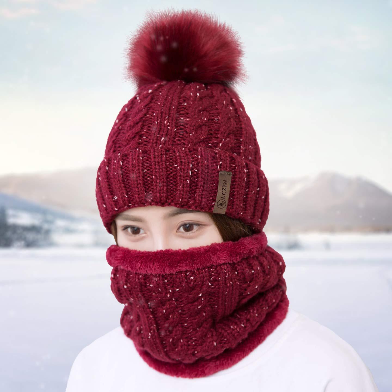 LCZTN Womens Pom Beanie Hat Scarf Set Girls Cute Winter Ski Hat with Fleece Lined