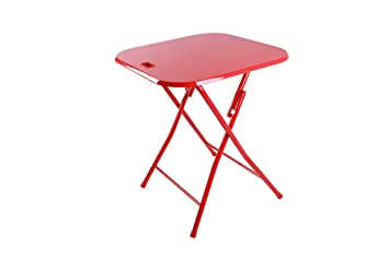 Superb Dar Folding Table With Handle, Red