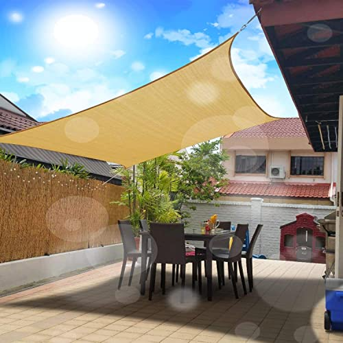 FLY HAWK Sun Shade Sail Rectangle,12 x 20 Patio Sunshade Cover Canopy – Durable Fabric Cloth for Outdoor Garden Yard Pond Pergola Sandbox Deck Courtyard – Sand Color 12 x 20 Rectangle