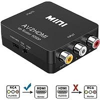 Qgeen Mini RCA AV/CVBS to HDMI Video Audio Composite Adapter Converter for PC/PS3/VCR/DVD PAL/NTSC