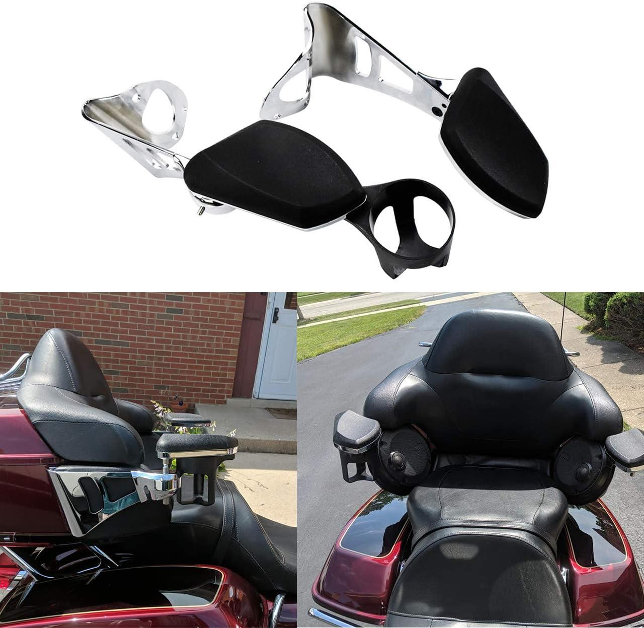 YHMTIVTU Passenger Armrests Motorcycle Adjustable Rear Armrest with Drink Holder Fit for Harley Touring and Tri Glide 2014-2019