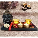 Tied Ribbons Polyresin Buddha Statue, Tealight Candles with Holder and Tray (26.67 cm x 13.97 cm x 5.08 cm)