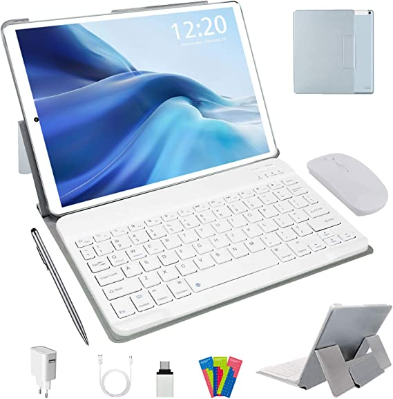 Tablet 10 Pulgadas Android 10.0, 4G LTE Tablets, 4GB de RAM y 64 GB/Scalabile a 128 GB, Dobles SIM, GPS, WiFi, 8000mAH,Teclado Bluetooth, Ratón, Funda ...