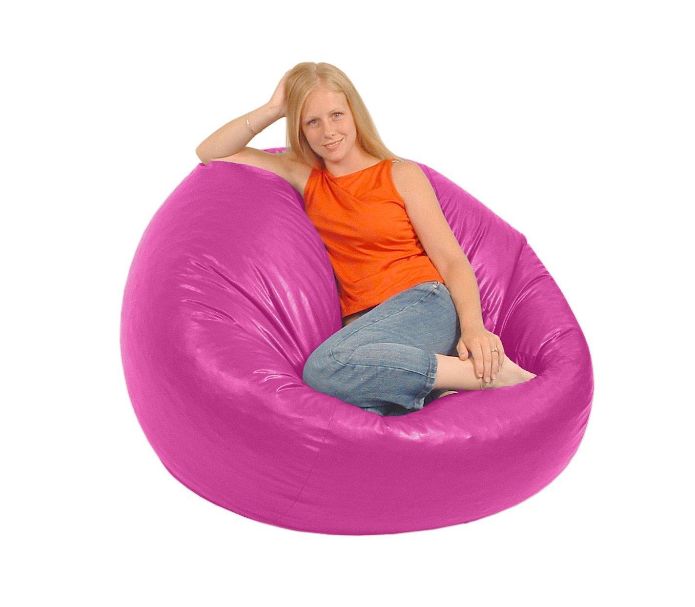 Fabulous Comfy Bean Beanbag Large Vinyl Hot Pink Creativecarmelina Interior Chair Design Creativecarmelinacom