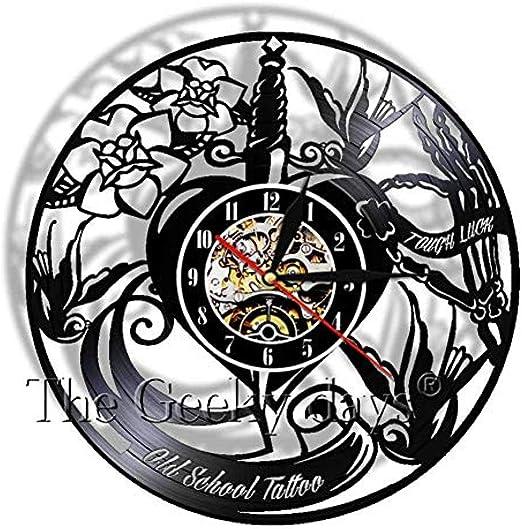 TPFEI Reloj de Pared de Disco de Vinilo Old School Reloj de ...