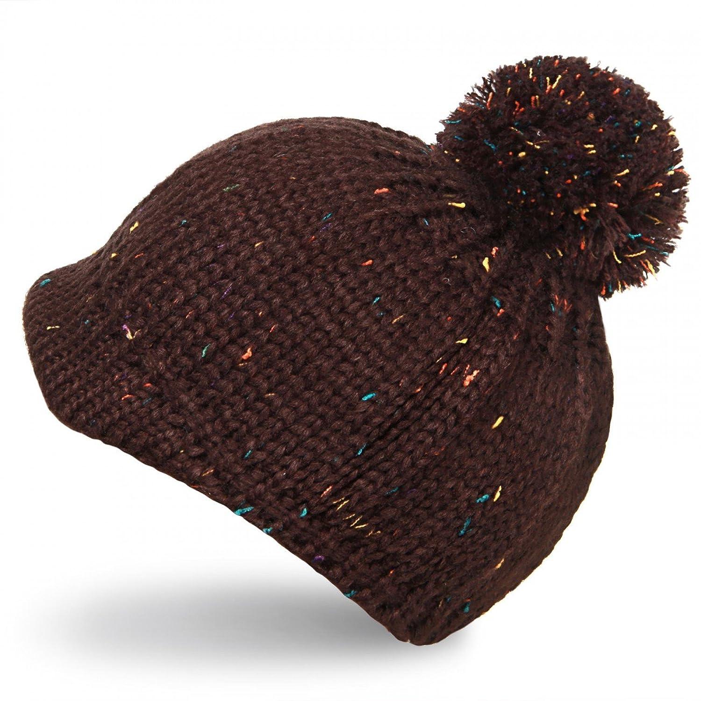 CASPAR Kindermütze Schirmmütze Winter Mütze mit Bommel / Strickmütze Beanie mit farbigen Akzenten und großem Bommel - gelb & braun - MU100