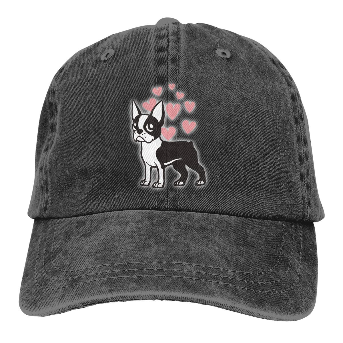 PMGM-C Boston Terrier Adult Personalize Denim Outdoor Sports Hat Adjustable Baseball Cap