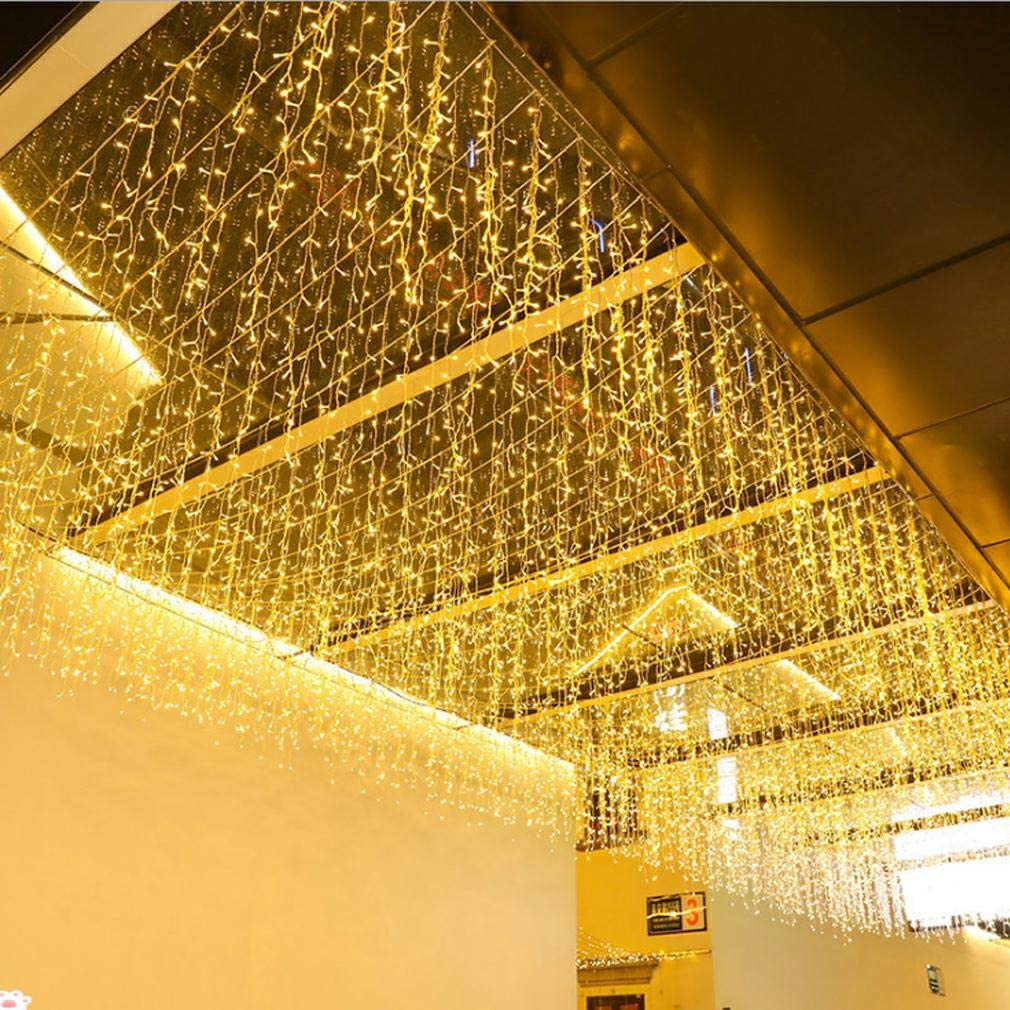 FTON LED Icicle Lights, 13FT 96 LEDs Fairy String Lights Plug in Extendable Curtain 8 Modes Decorative Wave Twinkle Christmas Lights for Shopping Mall Hotel Bar Yard Wedding(Warm White,4M)