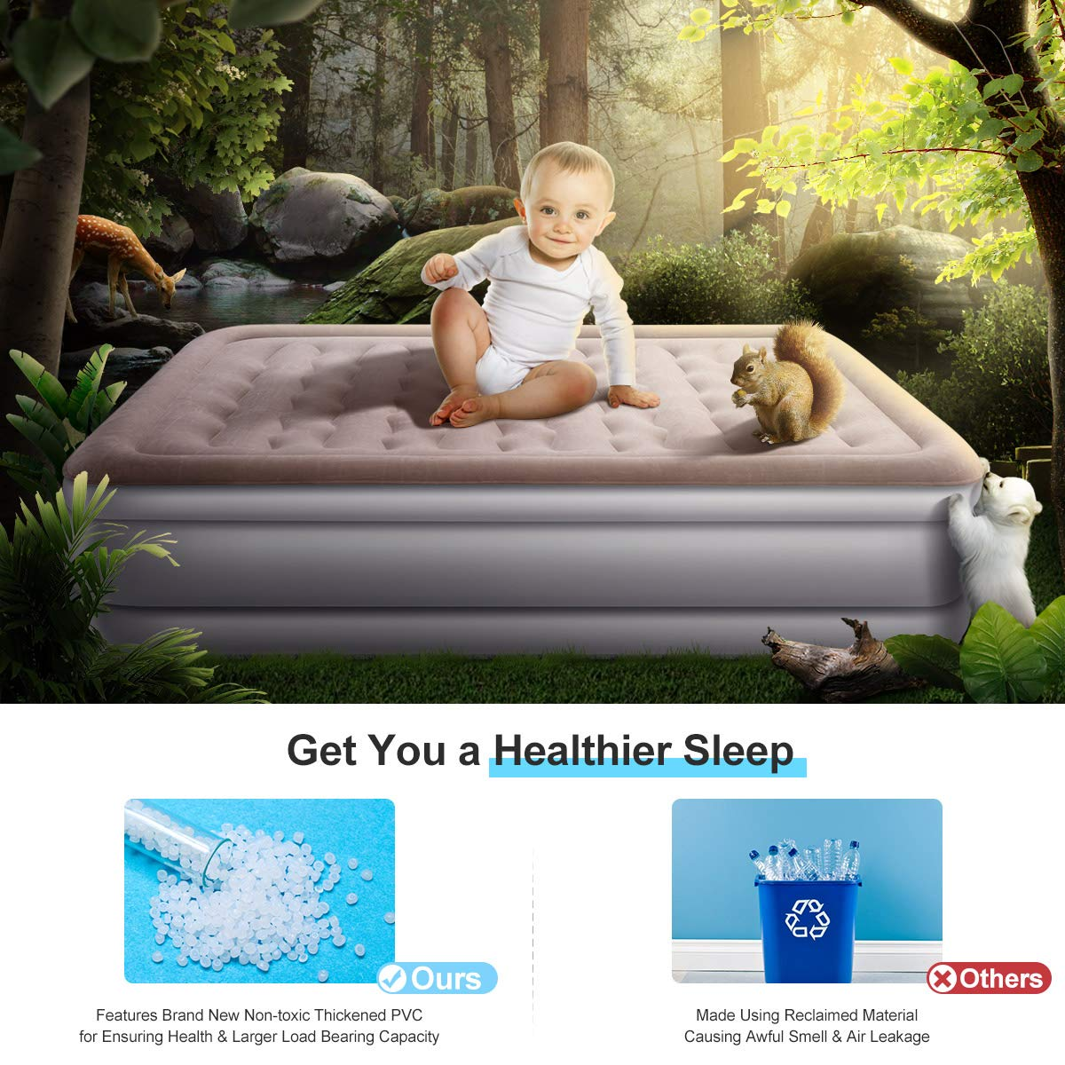 Eslibai Air Mattress Queen, Safety Inflatable Guest Airbed with Built-in Pump, for Overnight Guest Max Capacity 600 Pounds