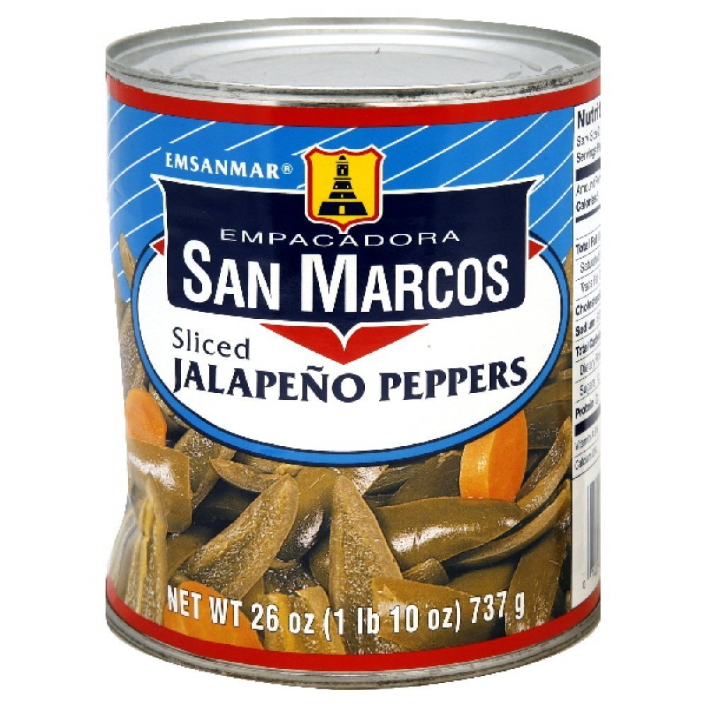 San Marcos Sliced Jalapeno Peppers 26 Oz (Pack of 4) by San Marcos