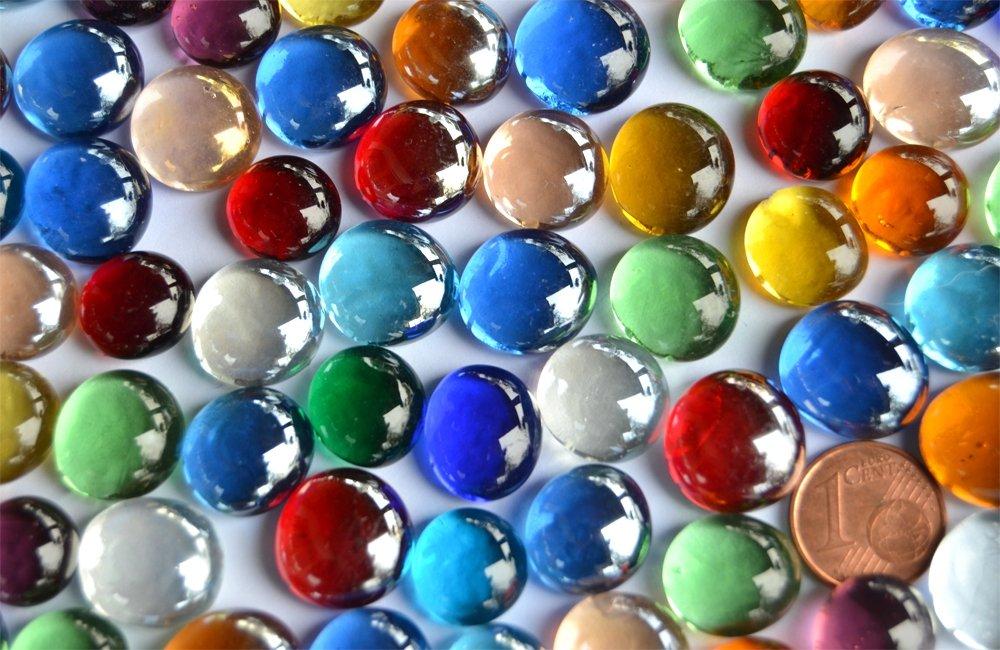 150g Mini Glass Nuggets 10-15mm Approx. 70–80Pieces Decorative Mosaic Muggel Multi-Color Stones Rhinestones Bazare Masud e.K.