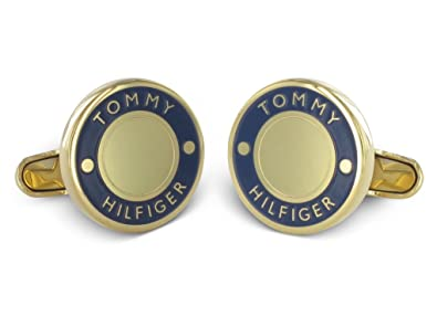 14887e11 Image Unavailable. Image not available for. Colour: Tommy Hilfiger Men's  Gold-Plated Stainless-Steel Cufflinks ...