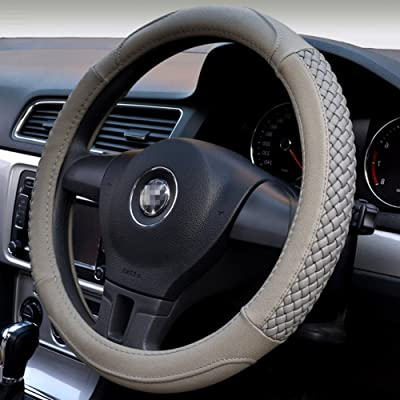 Moyishi Top Leather Steering Wheel Cover Universal Fit Soft Breathable Steering Wheel Wrap (Grey): Automotive