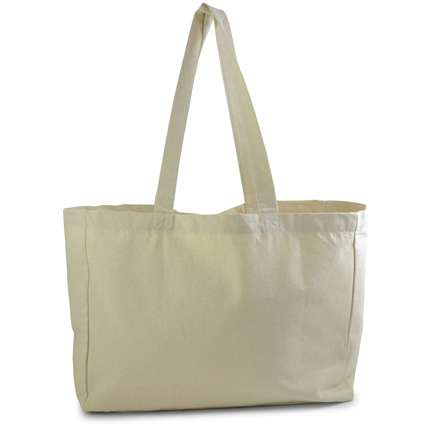 f8e9cf463b0 Natural Color Cotton Tote Bag, perfect for beach, grocery shopping, craft  projects - extra thick, large, durable,washable,100% cotton
