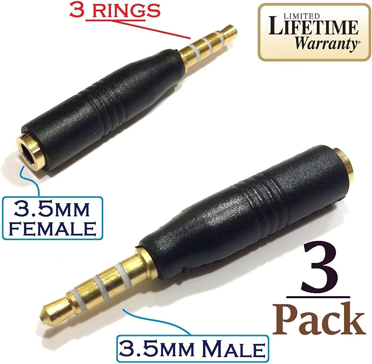 Josi Minea x 3 Pcs 3.5mm Audio Jack Extender Headphone Adapter with 4-Pole Connector for Apple iPhone 6/6S/6+/5S/SE iPad Nokia LG Nexus Samsung Galaxy S7/S6/S5 S7 Edge Note 5 & most devices [ 3 Pack ]