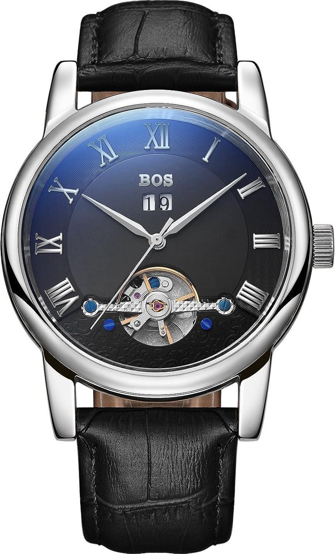 BOS Herren Mode Schwarzes Zifferblatt Mechanische Edelstahl-wasserdichte Armbanduhr 9005