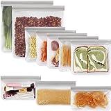SPLF 10 Pack BPA FREE Reusable Storage Bags (5 Reusable Sandwich Bags, 3 Reusable Snack Bags, 2 Reusable Gallon Bags), Extra