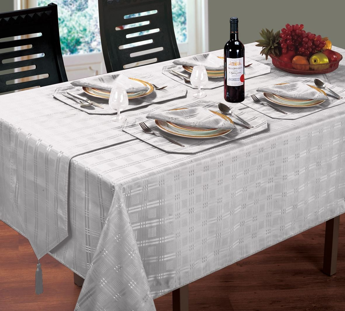 LUXURIOUS MODERN CHRISTMAS WOVEN JACQUARD CHECK SILVER TABLE CLOTH 70 ROUND Christmas Unique