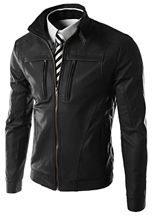YYZYY Homme Rétro en Cuir Bomber Moto Veste Manteaux Blousons Mens PU  Leather Zipper Jacket ( 185588a5b4a4