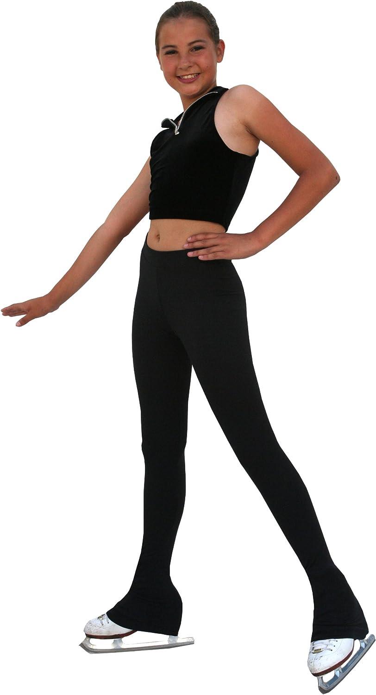 "ChloeNoel Figure Skating All Black 3"" Waist Band Skate Pants P22 Black Child Large"