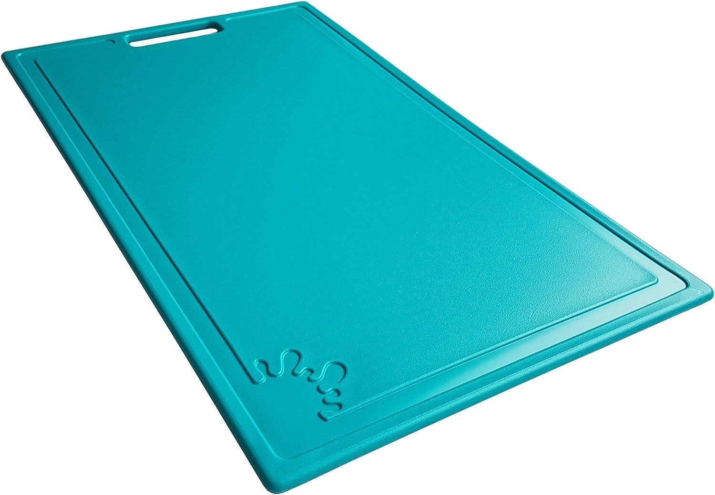 Medium, Turquoise Chopping Board Plastic Non-Slip Feet Cutting Board Dishwasher Safe Antibacterial