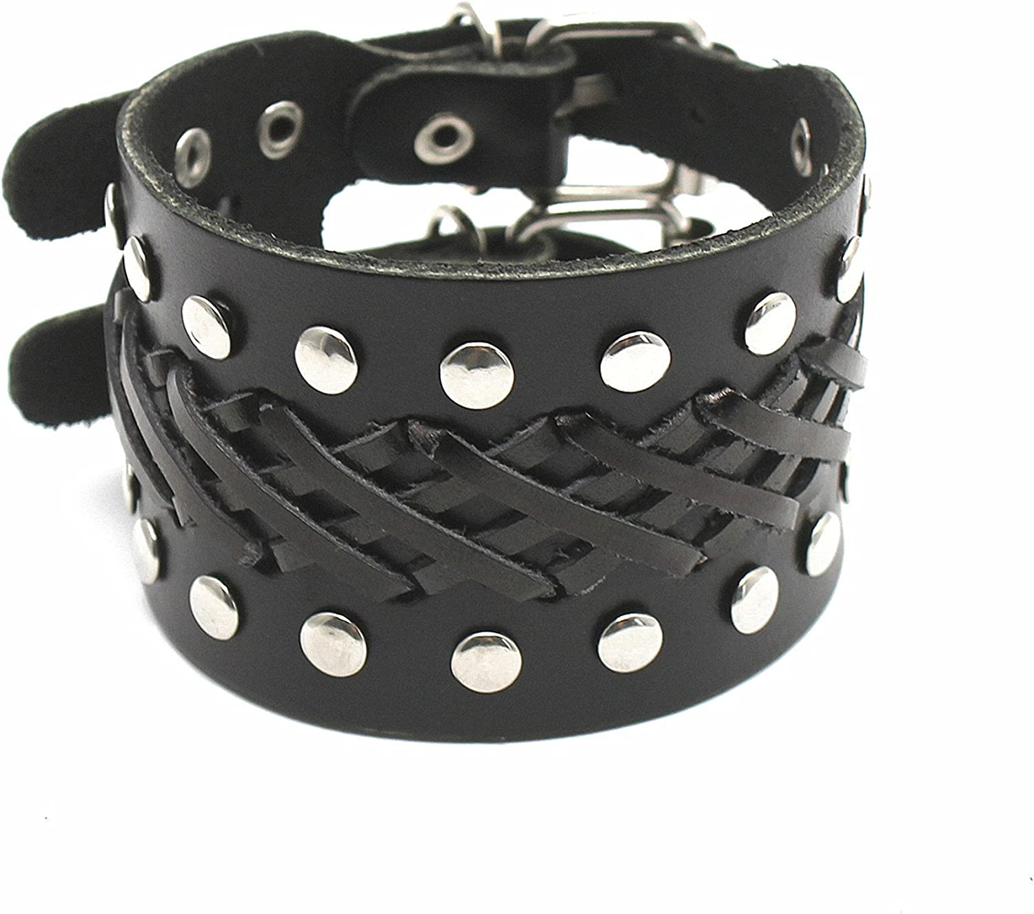 Holattio Mens Cool Wide Punk Rock Genuine Leather Tribe Wristband Cuff Bracelet Bangle Rope Black Brown Opt Available