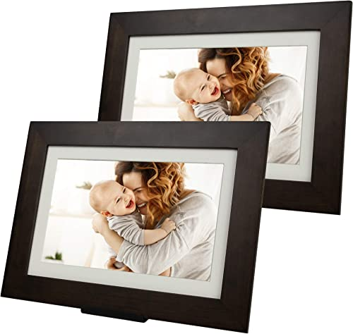 PhotoShare Friends and Family Smart Frame, Digital Photo, Send Pics from Phone to Frame, WiFi, 8 GB, Holds Over 5,000 Photos, HD, 1080P, iOS, Android 8 2-Pack , Espresso