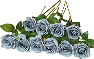 DuHouse 10pcs Silk Roses Artificial Dusty Blue Flowers Fake Rose for Arrangement Wedding Party Home Decoration (Grey Blue)