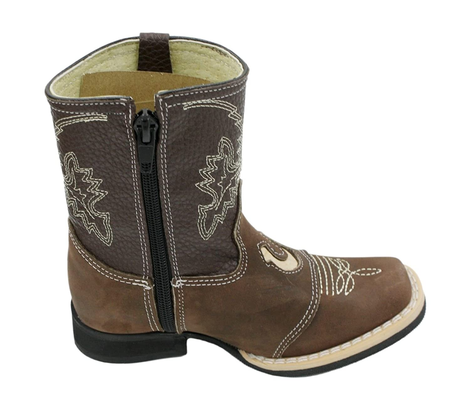 Kids Unisex Genuine Leather Western Rodeo Cowboy Side Zipper Boots Brown-Toddler-7.5