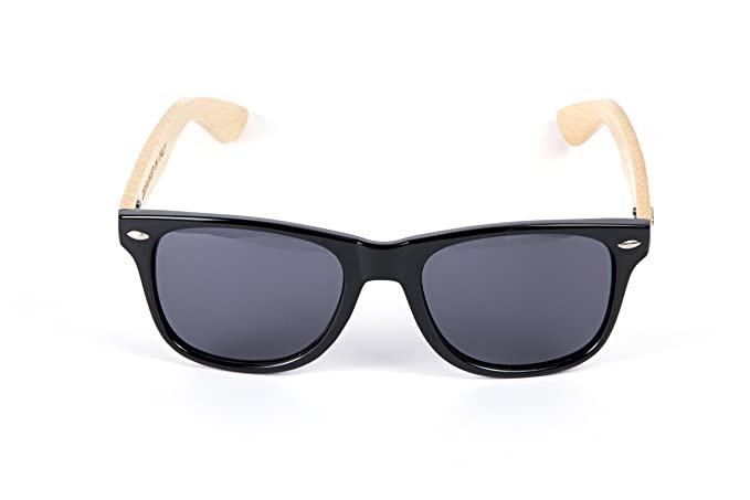 Vento Eyewear® modell Chinook Black&Grey - Sonnenbrille aus Bambus / Holz, Entworfen in Italien, mit CE-Zertifikat und UV400 Schutz, schwarz Rahmen grau Objektiv of polycarbonate