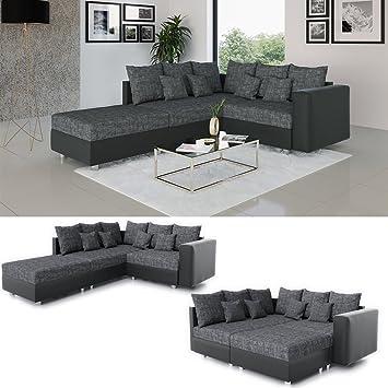 Oskar Ecksofa Schlaffunktion 220 X 180 Cm Schwarz Grau Sofa
