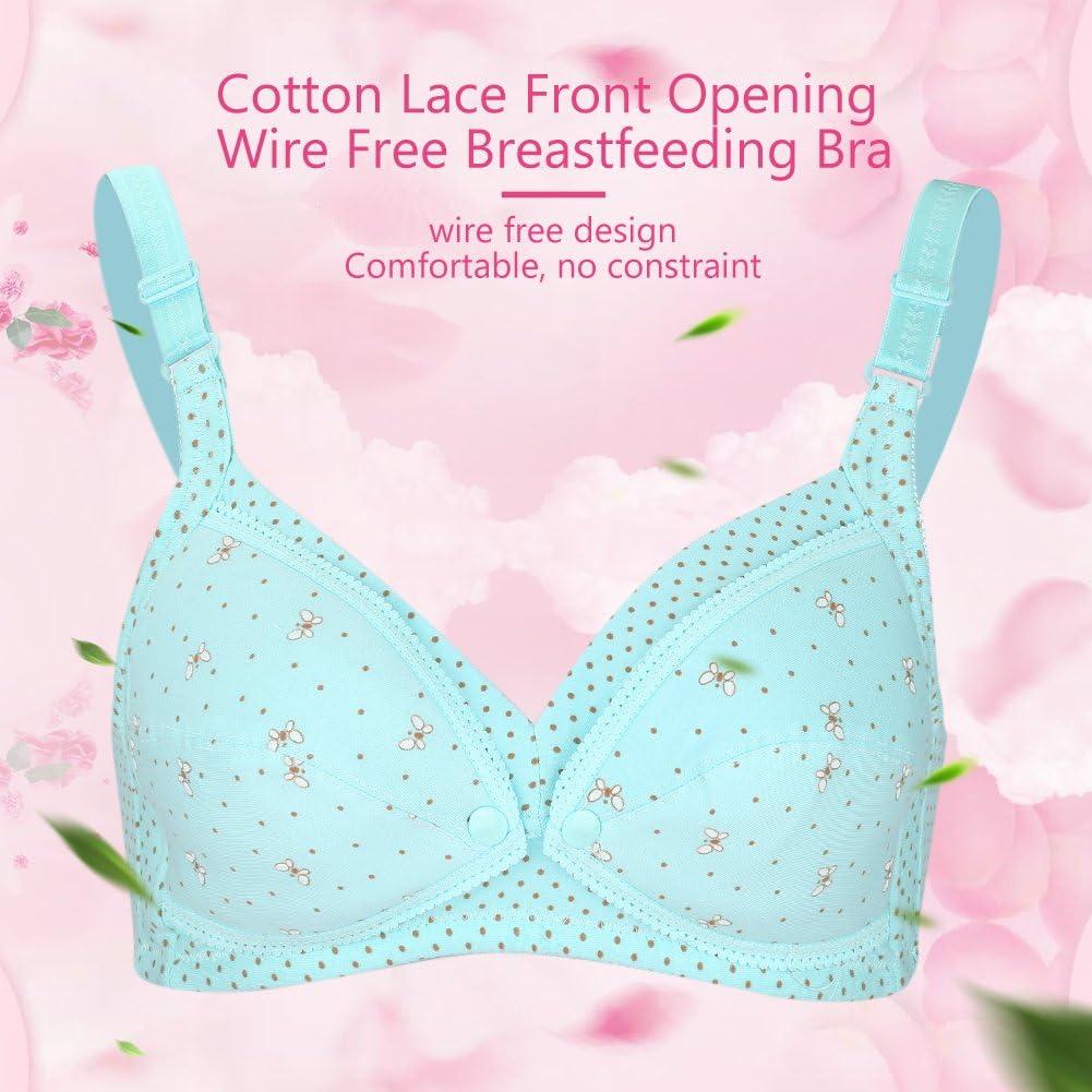 L-Dark Blue Small Dot Zerodis Women Maternity Nursing Bra Soft Cotton Sleep Lace Bra Pregnant Wire-free Underwear Mom Breastfeeding Clothing