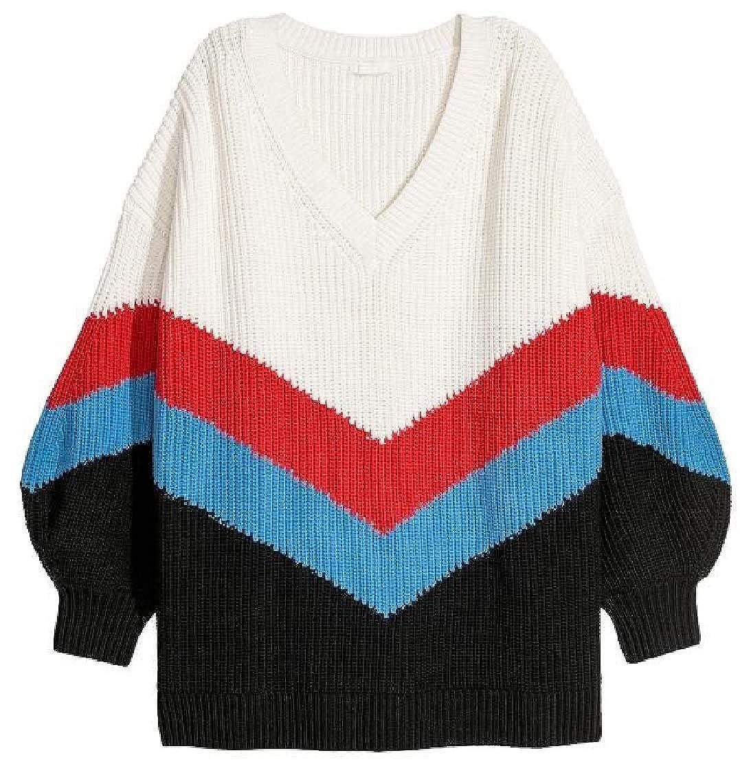 M/&S/&W Womens Warm Long Sleeve Knit V Neck Stripes Sweater Top