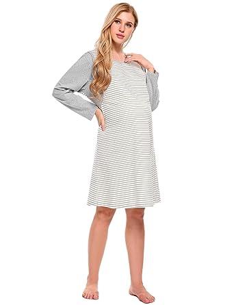 0c7c1a5c211b0 Aimado Women's Maternity Nursing Nightgown Long Sleeve Cotton Breastfeeding  Nightdress S-XXL
