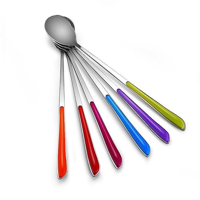 syndecho colores cucharas de postre de acero inoxidable mango largo cucharas de té helado café spoons-pack de 6: Amazon.es: Hogar